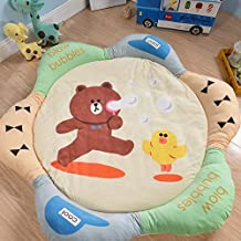 Colorful Petal Sides Play Mat, Extra-Thick Non-Toxic Anti-slip for Kids Flannel 60 inch by HugeHug (bear)
