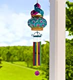 Solar Powered Hanging Swirl Wind Spinner Sculpture - Wind Chimes - Tabletop LED Lantern Light - 3 in 1 Funtional Design - Patio, Deck, Yard or Garden Decor - 7.75 dia. x 36.25 H - Multi-Colored