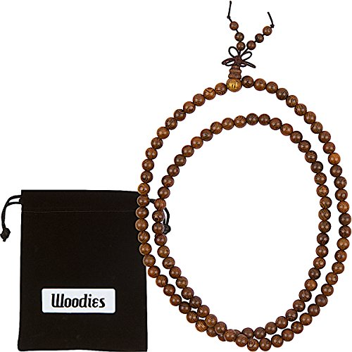 Woodies Walnut Wood Bead Mala Necklace