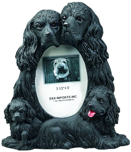 Black Springer Spaniel Gift Picture Frame Holds Your Favorite 3x5 Inch Photo, A Hand Painted Realistic Looking Black Springer Spaniel Family Surrounding Your Photo. This Beautifully Crafted Frame is A Unique Accent to Any Home or Office. The Black Springer Spaniel Picture Frame Is The Perfect Gift For Black Springer Spaniel Owners And Lovers!