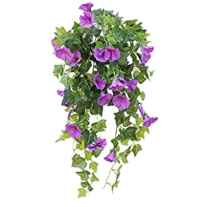 Calcifer 1 Branch(12 Stems/23 Flowers) Artificial Morning Glory Trumpet Flower Vine Plastic Flower Bouquet Hanging Wall Strings Flowers for Home Garden Wedding Party Decoration 102