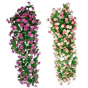 Fenteer 2 Pieces Artificial Daisy Flower Hanging Flower Vines Garden Wedding Venue Decor 15