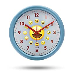 Chital Emoji Wall Clock - Adorable Wall Clock for Kids - Large 11.5-Inch Wall Clock for Girls & Boys - Kids' Wall Clock with Cute Emojis - Easy to Read Large Numbers, Glass Covering - Light Blue