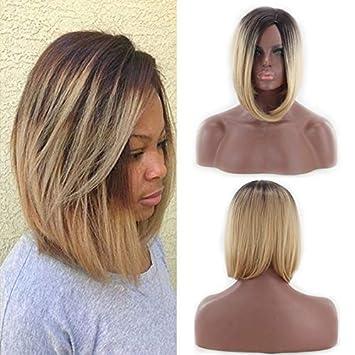 Oyedens Gold Kurze Haare Perücken Welle Kopf Gefärbt Gradient