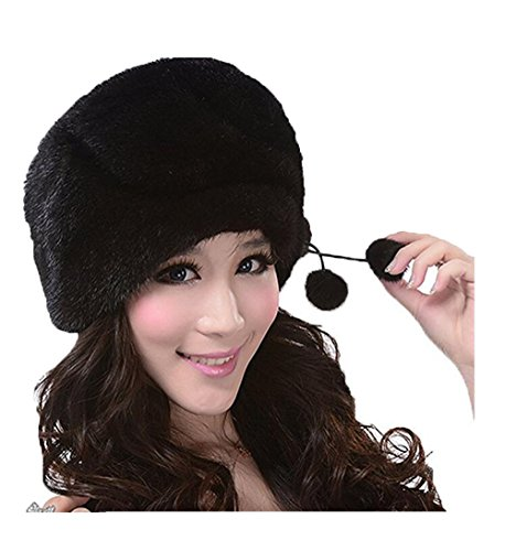 YR Lover Women's Warm Earmuffs Mink Fur Beret Hat Cute Caps