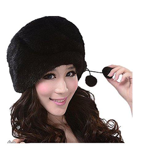 YR Lover Women's Warm Earmuffs Mink Fur Beret Hat Cute Caps