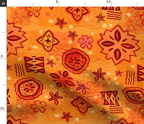 (Vintage Hawaiian Fabric - Orange Fruit Mid Century Tiki Tapa Tropical Island Kitsch Barkcloth Reddish Red Print on Fabric by the Yard - Velvet for Upholstery Home Decor Bottomweight Apparel)