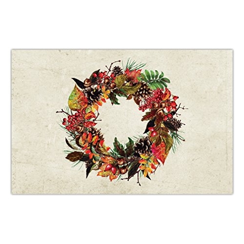 (Thanksgiving Dinner Paper Placemats Pack of 25 Classic Autumn Wreath Design Welcome to Fall Season Family Parties Dining Table Settings Disposable Quick Cleanup 17