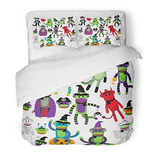 Emvency Bedding Duvet Cover Set Full/Queen (1 Duvet Cover + 2 Pillowcase) Retro Collection of Adorable Halloween Sock Monkeys Skull Witchcraft Alien Animal Hotel Quality Wrinkle and Stain Resistant