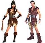 King of Caves and Cave Cutie Adult Costume - Caveman and Cavewoman Couples Costumes
