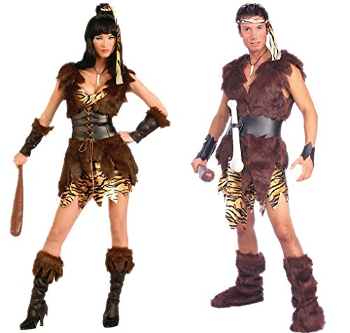 King of Caves and Cave Cutie Adult Costume - Caveman and Cavewoman Couples Costumes by Faerynicethings