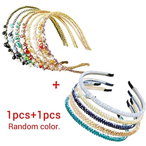 [Brendacosmetic 2 Pcs Fashion Handmade Rhinestone Crystal Hairband Hair Clips Headband DIY Hair Style Tool for Hairdressing (Randomly] (90s Era Costumes)
