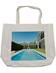 Lunarable Modern Shopping Bag, Modern Villa with Pool view from the Garden Real Estate Contemporary Property, Eco-Friendly Reusable Bag for Groceries Beach Travel School & More, Cream