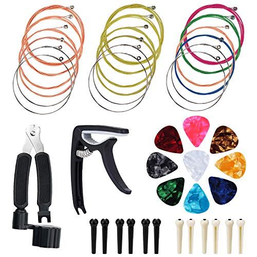 Pinowu Acoustic Guitar Strings Changing Kit (44pcs) - Guitar Tool Kit Including Guitar Strings Guitar Picks Capo Pins Guitar String Cutter and Winder for Beginner