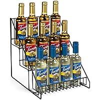 Set of 2- Wire Store Fixture, Countertop Retail Display Rack, 3 Tiers, Open Shelf (Black Steel)
