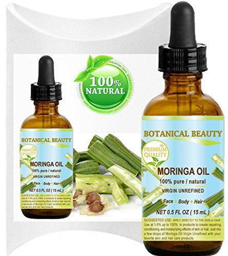 MORINGA OIL - Moringa oleifera WILD GROWTH Himalayan. 100% Pure / Natural / Undiluted/ Virgin / Unrefined. 0.5 Fl.oz.- 15 ml. For Skin, Hair, Lip and Nail Care.