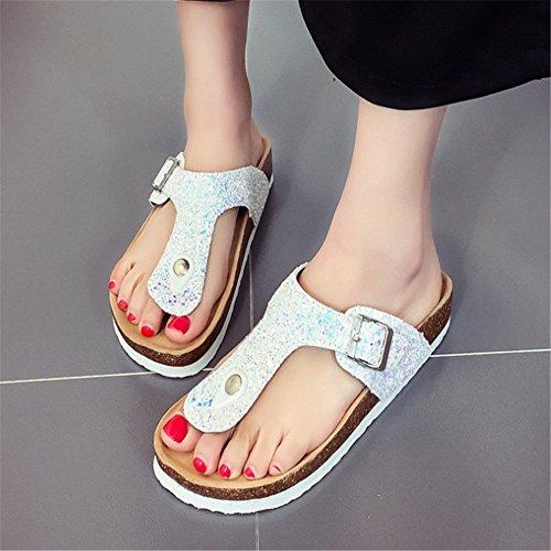 Couleur Flops dérapant Plage Or Summer Chaussures 1 EU Sequin De Flip Taille Women 39 Slippers Anti Résistant Wangcui 3 l'usure Argent À x6q4OXvqw