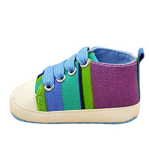 ESHOO Baby Soft Sole Cuna zapatos Casual encaje arco iris Prewalkers Zapatillas MRC Talla:0-6 meses LC