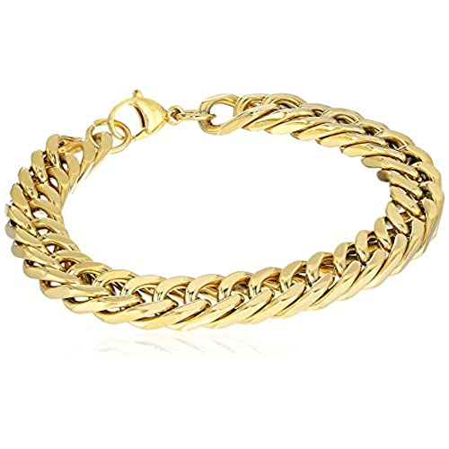 262e29c0c7948 Crucible Jewelry Mens Gold IP Stainless Steel Curb Chain Link ...