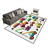 Carpet,Cute Style Vehicles Heavy Equipment Forklift Earthmover Excavator Mixer,Indoor Outdoor Rug,Multicolor,5'x6' -  Stevenhome