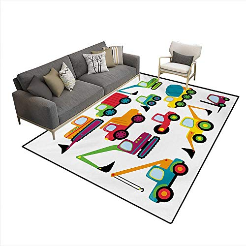 Carpet,Cute Style Vehicles Heavy Equipment Forklift Earthmover Excavator Mixer,Print Area Rug,Multicolor,6'x7' -  Stevenhome
