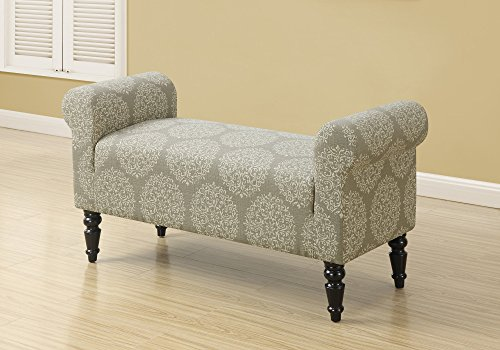 Monarch Specialties Upholstered Traditional Style Bench, Snowflake Fabric, Taupe, 44