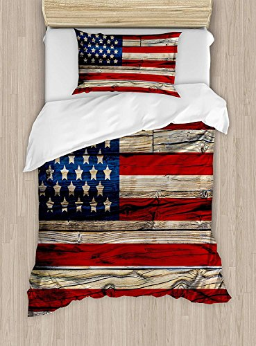 VANKINE California King Bedding Sets,4th of July Duvet Cover Set,Wooden Planks Painted as United States Flag Patriotic Country Style,Include 1 Flat Sheet 1 Duvet Cover and 2 Pillow - Bed California King Painted