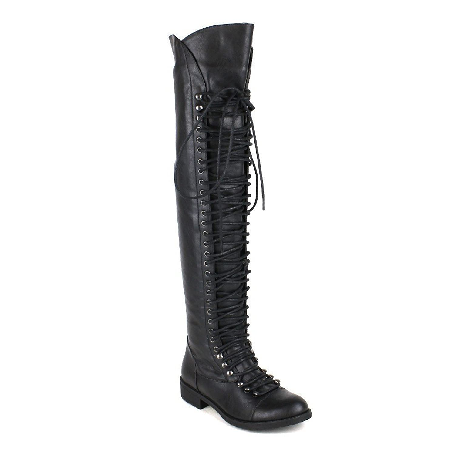 Women's Black Tall Lace-Up Thigh High Flat Heel Faux Leather Boots