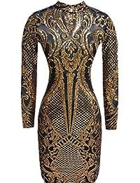Women Sequin Dress Geometric Tattoo Bandage Bodycon Club Dresses