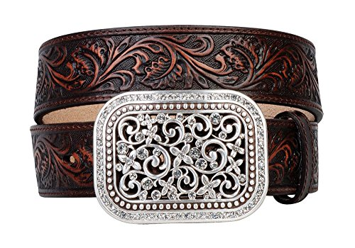 Ariat Women's Ariat Scroll Embosed Buckle Belt Accessory, -brown, Medium from Ariat
