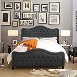 King Size Mattress Dimensions in Feet Rosevera R033KA34KA33K Platform Bed Headboards, King, CHARCOAL