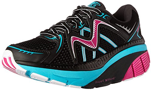MBT Women's Zee 16 Running Shoe, Black/Fuchsia/Powder Blue, 6 M US Mbt Physiological Footwear