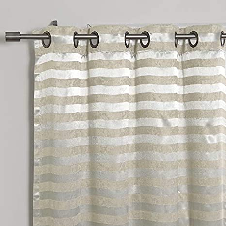 Set of 2 Panels Silver BEWBU KC-12-SATINSTRIPE-BEIGE 48W x 84L - Antique Bronze Grommet Top Best Home Fashion Satin and Suede Stripe Curtains