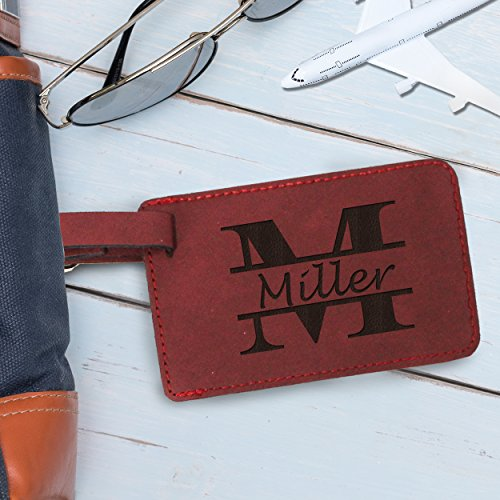 Custom Personalized Luggage Tag - Engraved Travel Gifts - Monogrammed for Free (Crimson) by My Personal Memories (Image #1)