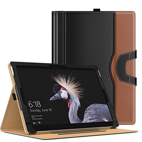 New Design Pu Leather - MoKo New Surface Pro 2017 Case - Slim Folding Stand Folio Cover Case for Surface Pro LTE/Pro 2017/Pro 4/Pro 3 Tablet with Document Card Slots, Compatible with Type Cover Keyboard, BLACK & BROWN