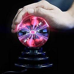 SOLMORE Plasma Ball Light, 3 Inch USB Globe Plasma Ball Lamp Light [Touch Sensitive] Sphere Lightning Magic Crystal Lamp Globe Desktop Kids Child Party Decorative Plasma Light