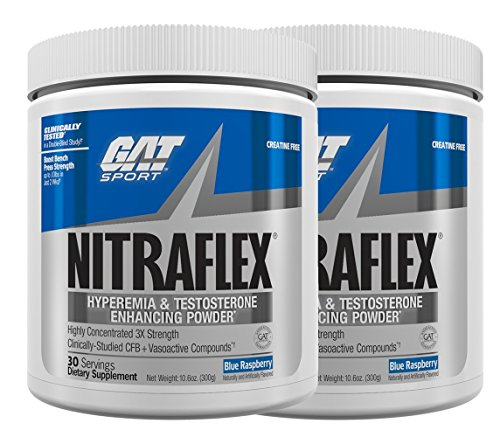 GAT Clinically Tested Nitraflex, Testosterone Enhancing Pre Workout, Blue Raspberry 2 X 300 Gram