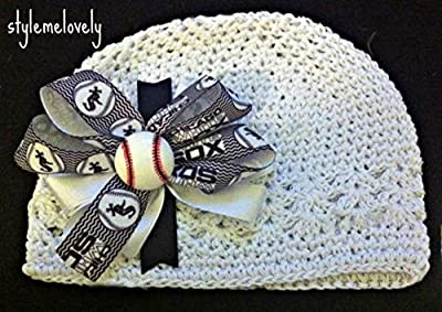 Chicago White Sox Boutique Bow Crocheted Kufi Hat, Newborn- Adult Sizes