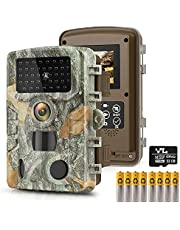 """HAWKRAY Trail Game Camera-T1 24MP 1080P with 32GB SD Card, Hunting Camera w 3 Infrared Sensors 2.4"""" LCD 47pcs Low Glow Night Vision IR LEDs, 120° Detection Motion Activated Range for Wildlife Scouting Digital Surveillance, IP65 Waterproof"""