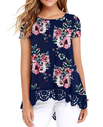 QIXING Women's Tops Short Sleeve Lace Trim O-Neck A-Line Tunic Blouse FP Navy Blue-2XL ()