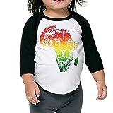 Kids Toddler Cotton Africa Map And Rasta Lion 3/4 Sleeve Raglan Baseball Tee