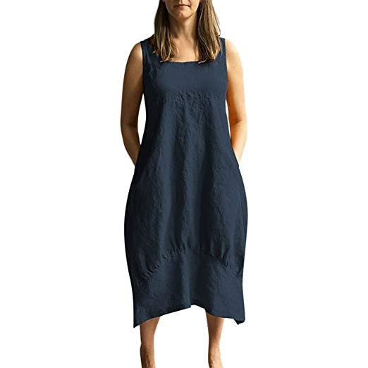 AIni Damen Sommerkleid Mode L/ässig Rundhals Kleid Elegant /ärmelloses Minikleid Blumendruck Festlich Partykleid