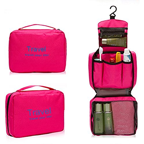 Portable Moisture-proof Fabric Zipper Travel Bag Drawer Dividers Essentials Hanging Cosmetic and Grooming,bra Underwear Storage Bag Organizer Household Travel Must (Rose Red) ()