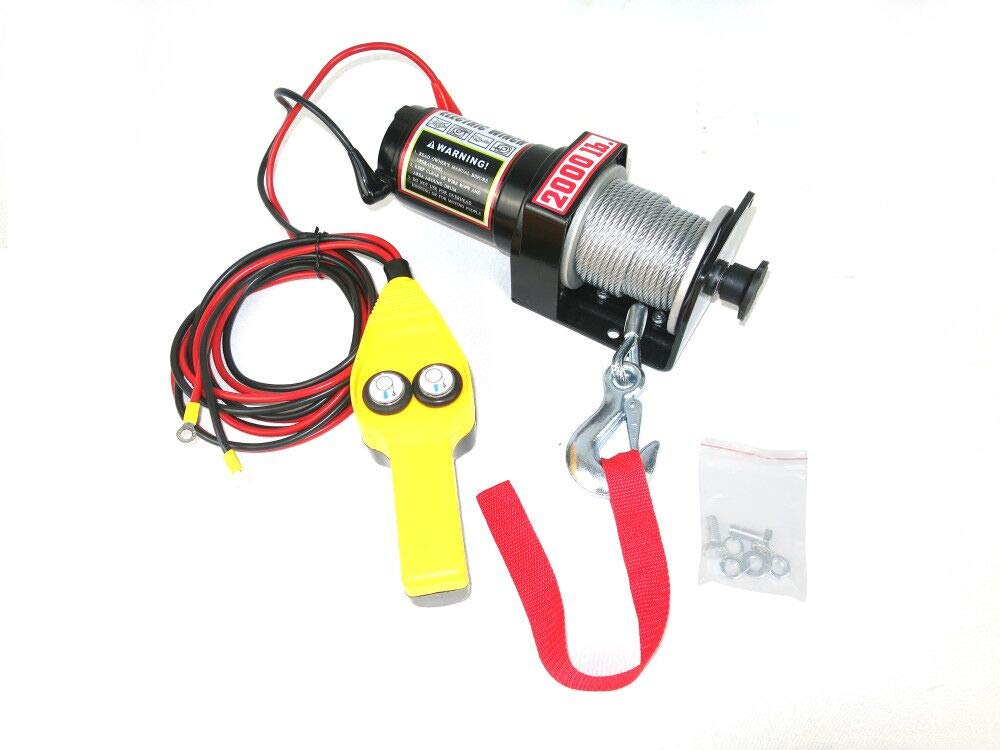 CASTOOL Electric Winch 12 Volt Recovery ATV/UTV Winch Kits Wire Remote Control(Cable 2000LBS Capacity)