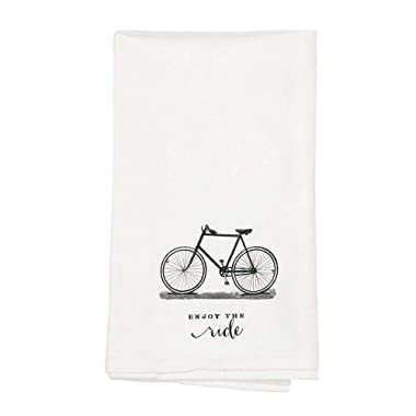 Enjoy the Ride Bicycle 18 x 22 All Cotton Flour Sack Towel Set of 2