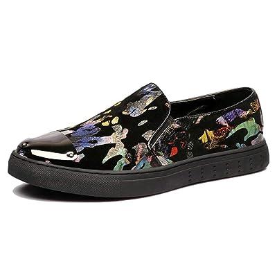 8ab3d18815f6 Chaussure de Conduite en Cuir sans Lacet Basse Plate pour Homme Lok Fu  Chaussure Pois au