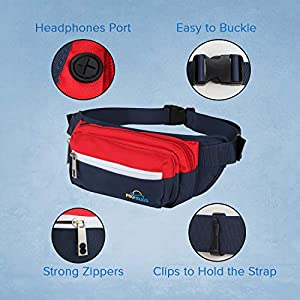 Fanny Pack for Men Women Waterproof Waist Bag for Outdoor Activity Traveling Hiking Biking Running Belt Pack for iPhone and Samsung with zippered pockets (Navy Blue)
