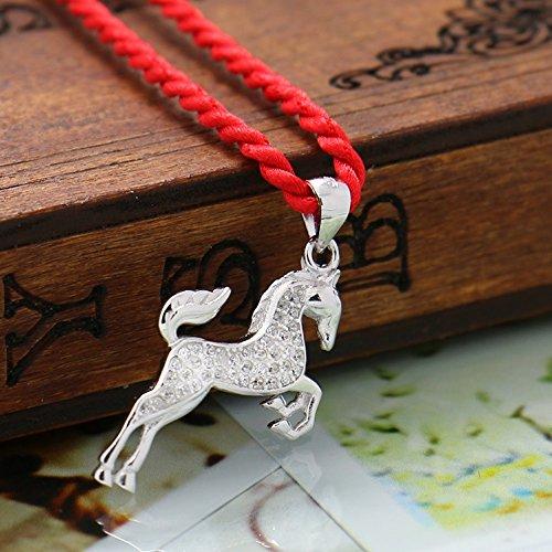 dames cubique en argent sterling collier pendentif de cheval de zircon, pour les femmes les filles, (f1578)