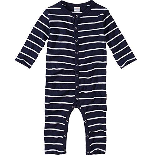 wellyou, Schlafanzug, Pyjama für Jungen und Mädchen, Einteiler langarm, Baby Kinder, marine-blau weiß gestreift, geringelt, Feinripp 100% Baumwolle, Größe 104-110