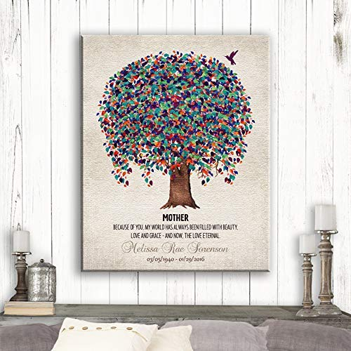 Memorial Plaque For Mother Love Eternal Poem Tree Hummingbird Gift For Remembering Mum Custom Art Print #1241 Canvas Print